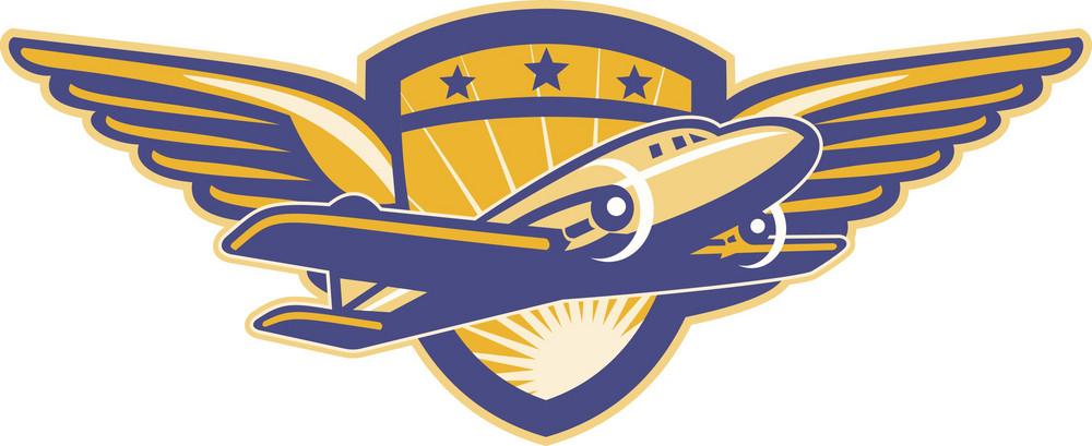 Propeller Airplane Shield Wings Retro