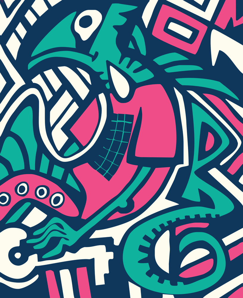 Psychedelic Stylized Design Winter Abstract Background