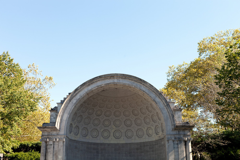 Public music shell stage located in Central Park NYC.
