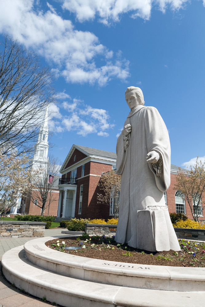 Public statue of Noah Webster located in the center of West Hartford Connecticut writer of Websters dictionary.