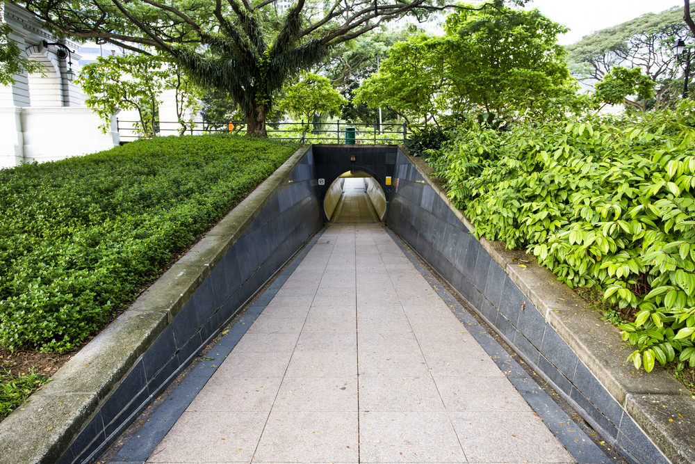 Public tunnel in park at singapore