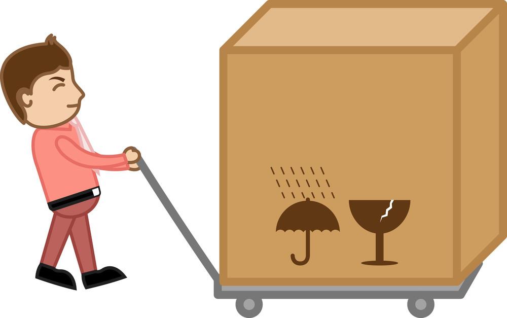 Pulling A Big Box Bundle - Business Cartoon