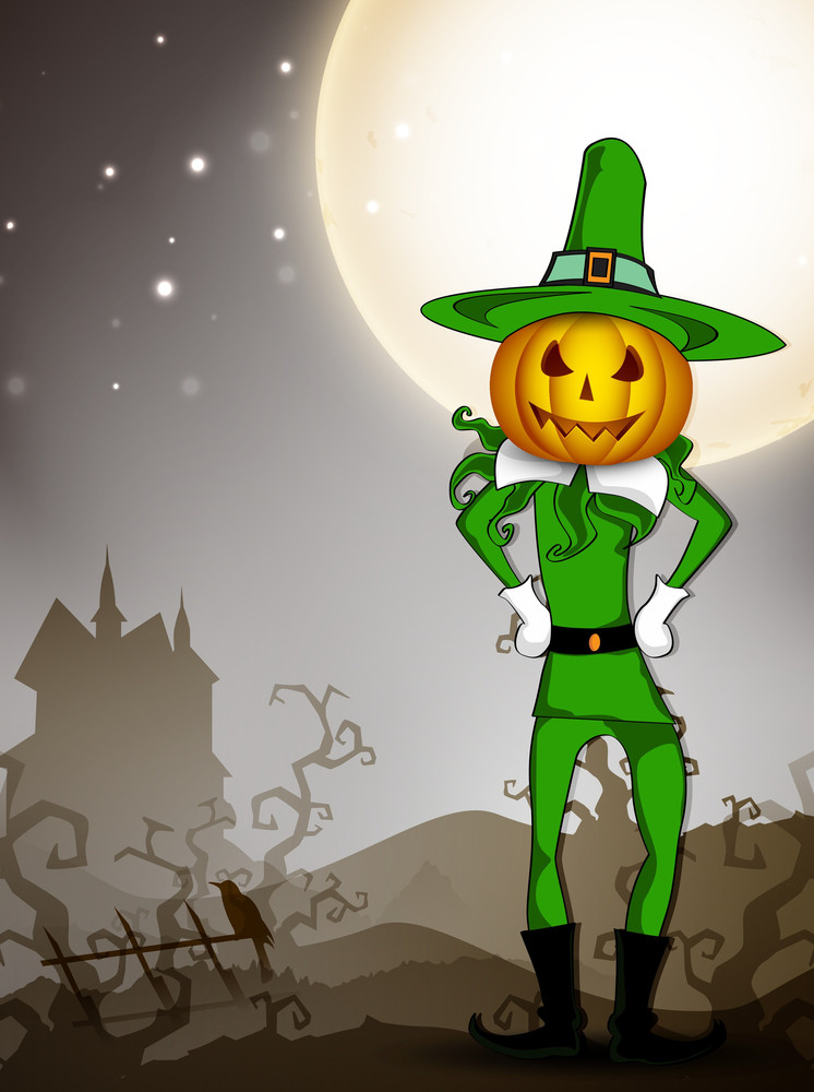 Pumpkin Witch In The Halloween Night