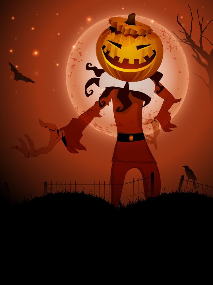 Pumpkin Witch In The Halloween Night
