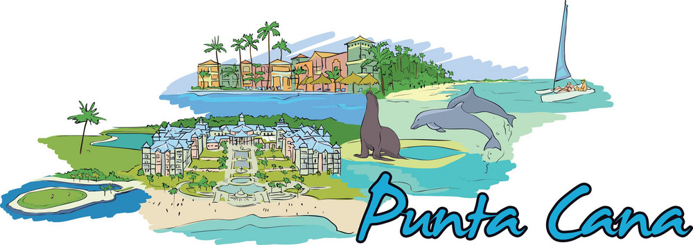 Punta Cana Vector Doodle