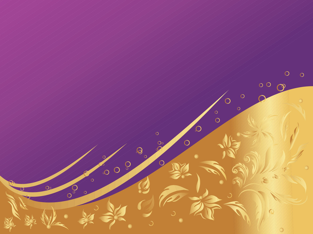 Purple And Golden Floral Wallpaper