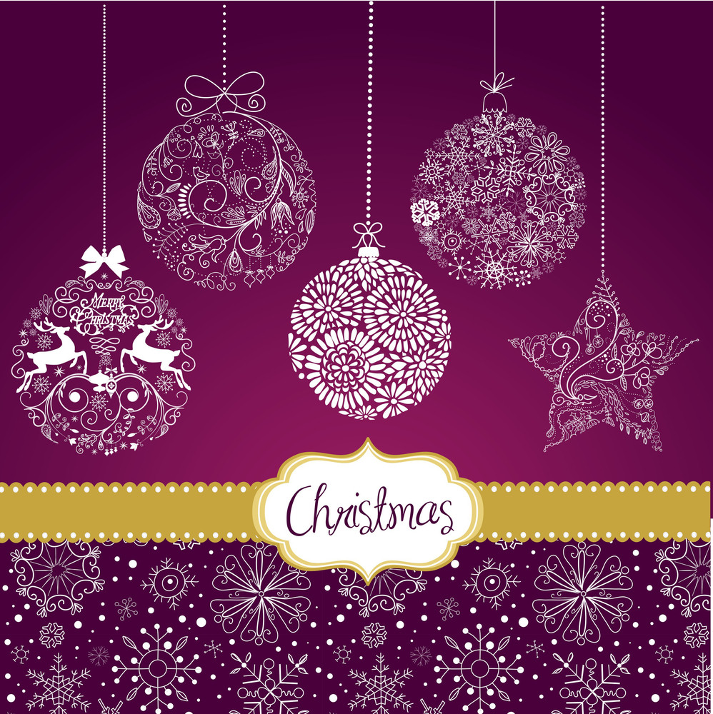 Purple And White Christmas Ornaments. Card Template Royalty-Free ...