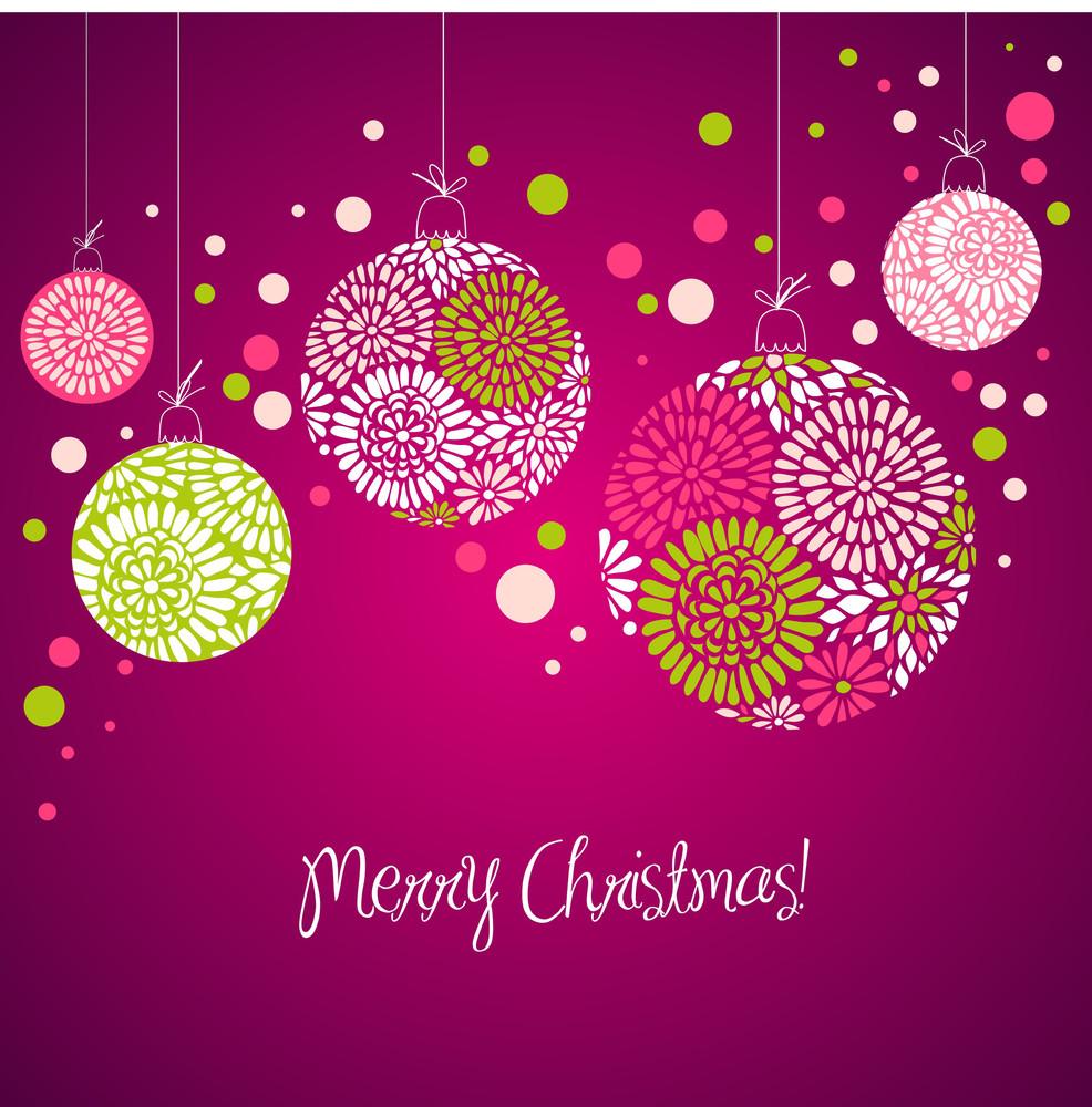 Purple Card With Christmas Balls
