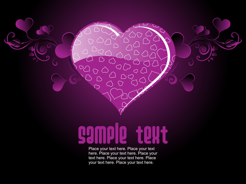 Purple Color Background With Heart Text