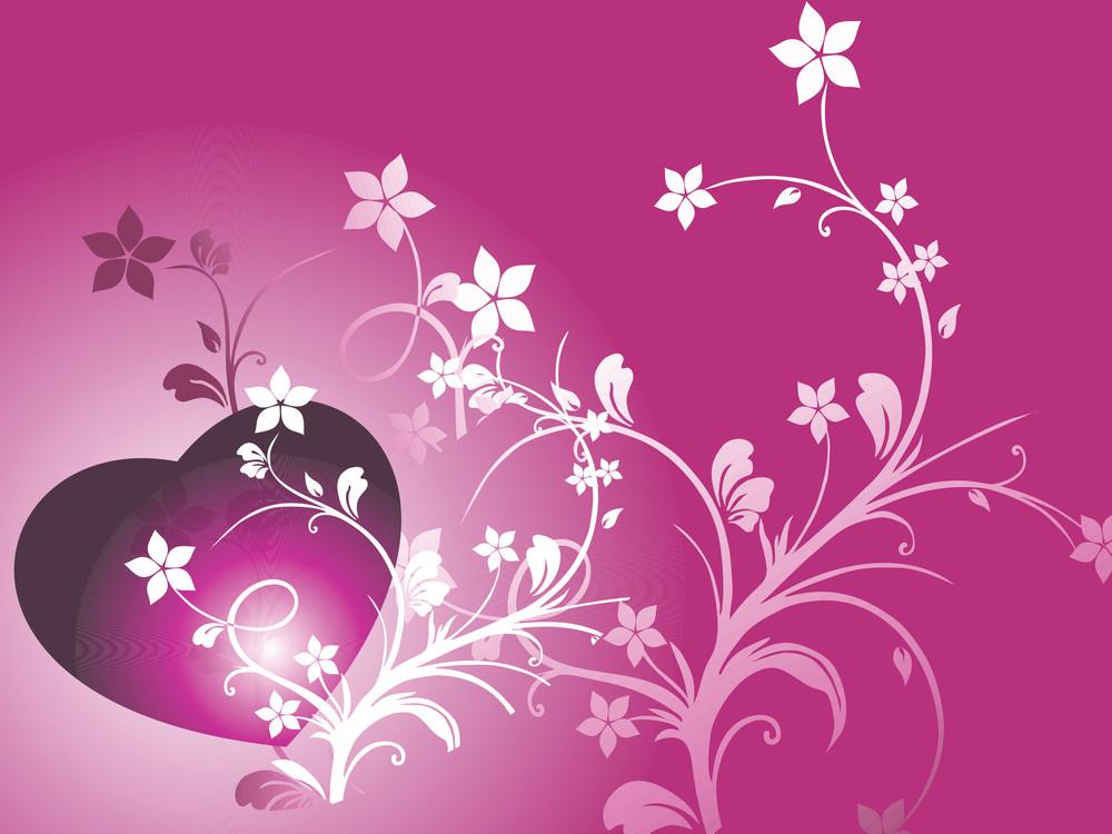 Purple Floral Heart Illustration