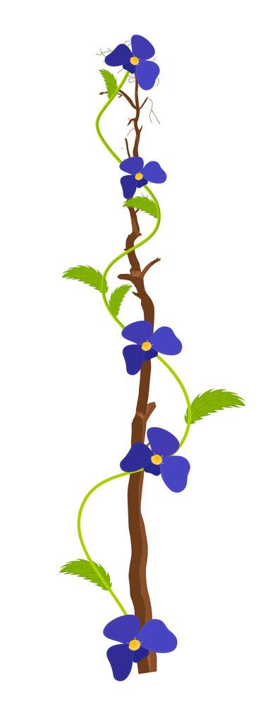 Purple Flowers Branch Design
