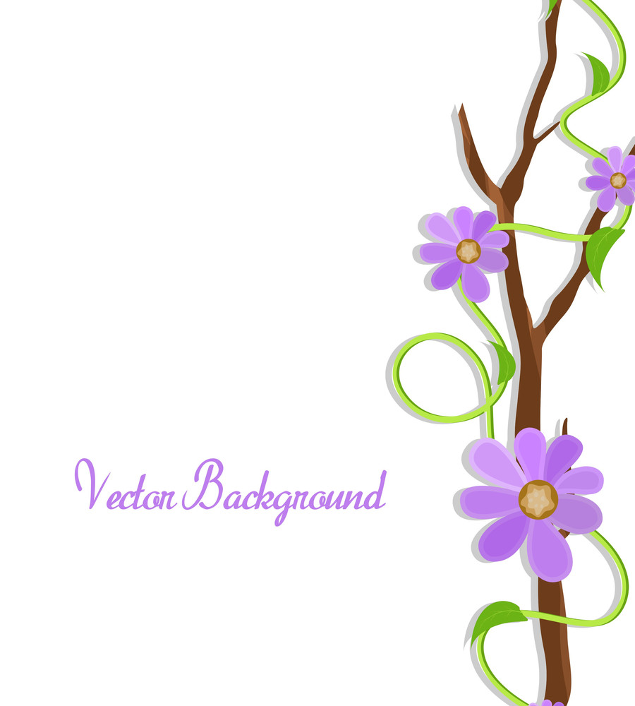 Purple Flowers Branch Frame Vector