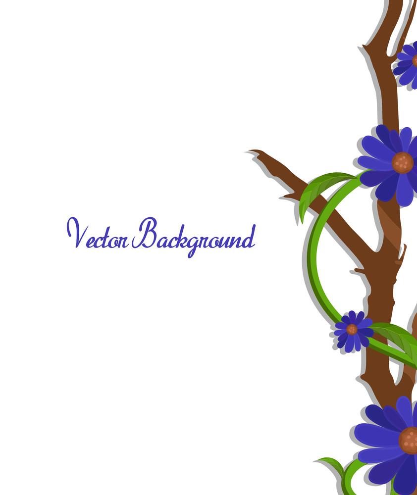 Purple Flowers Vector Branch Border Vector