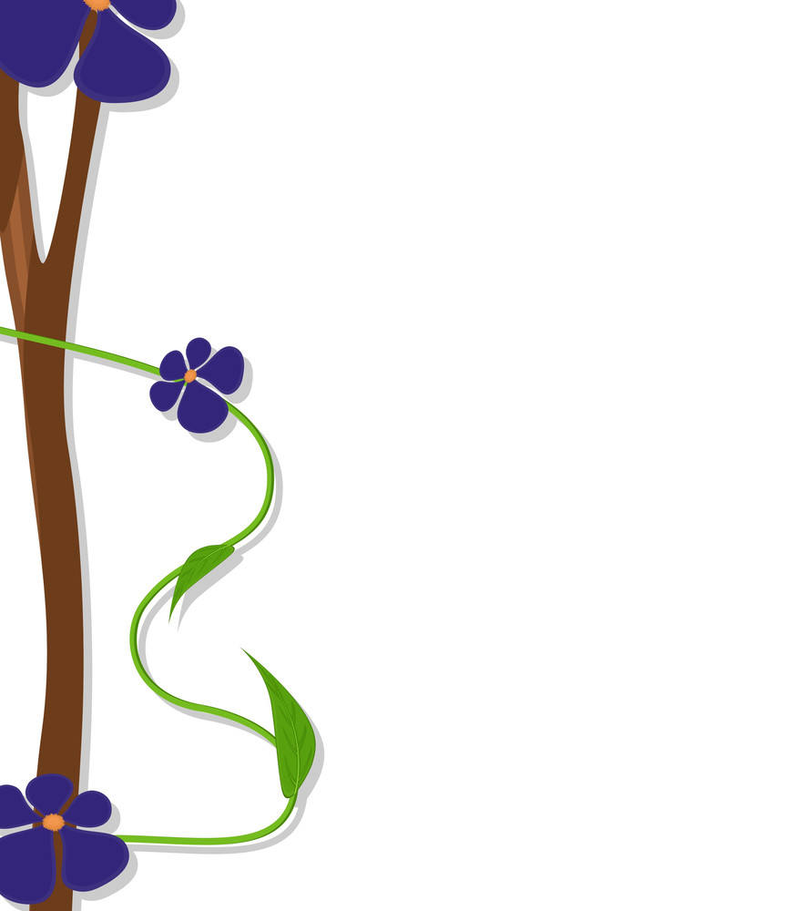 Purple Flowers Vector Greeting Banner