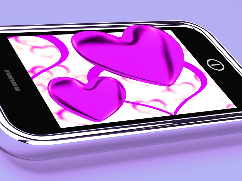 Purple Hearts On Mobile Show Love And Romance