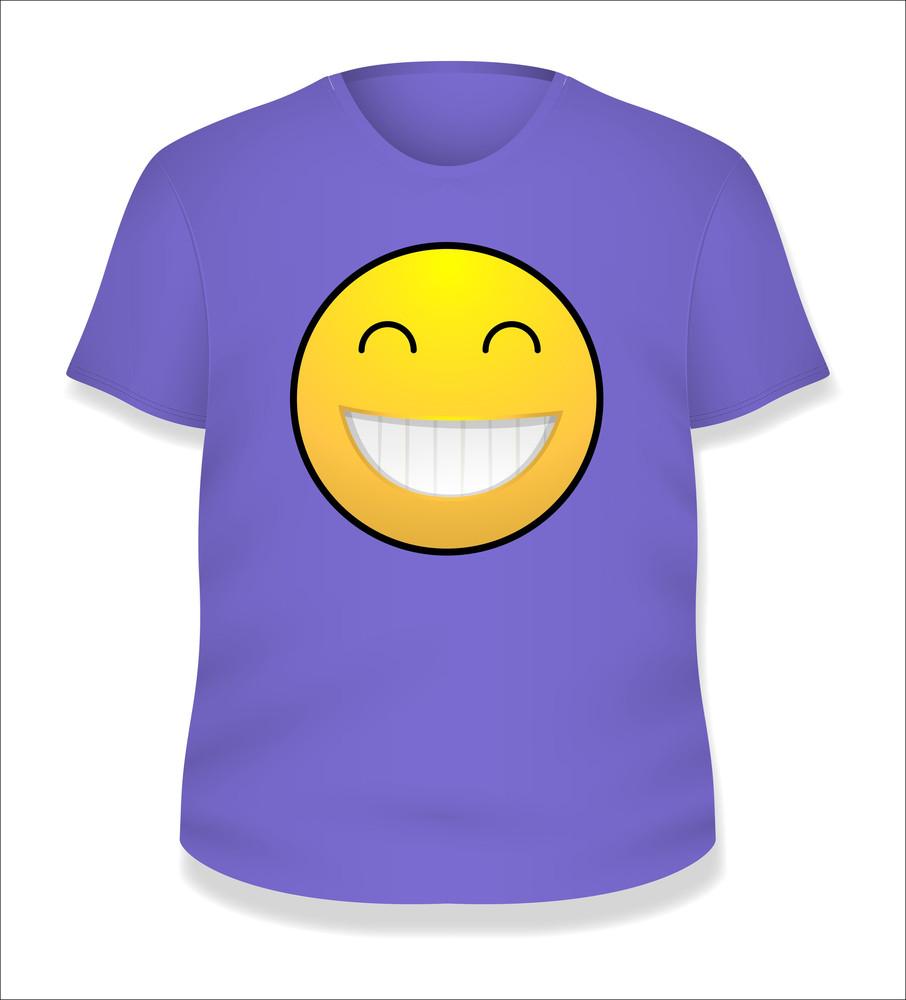 Purple Smiley White T-shirt Design Vector Illustration Template