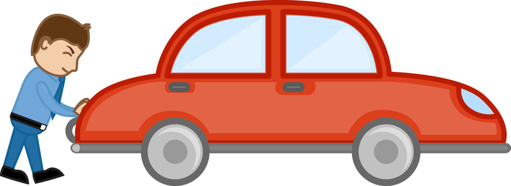 Pushing Car Cartoon Vector