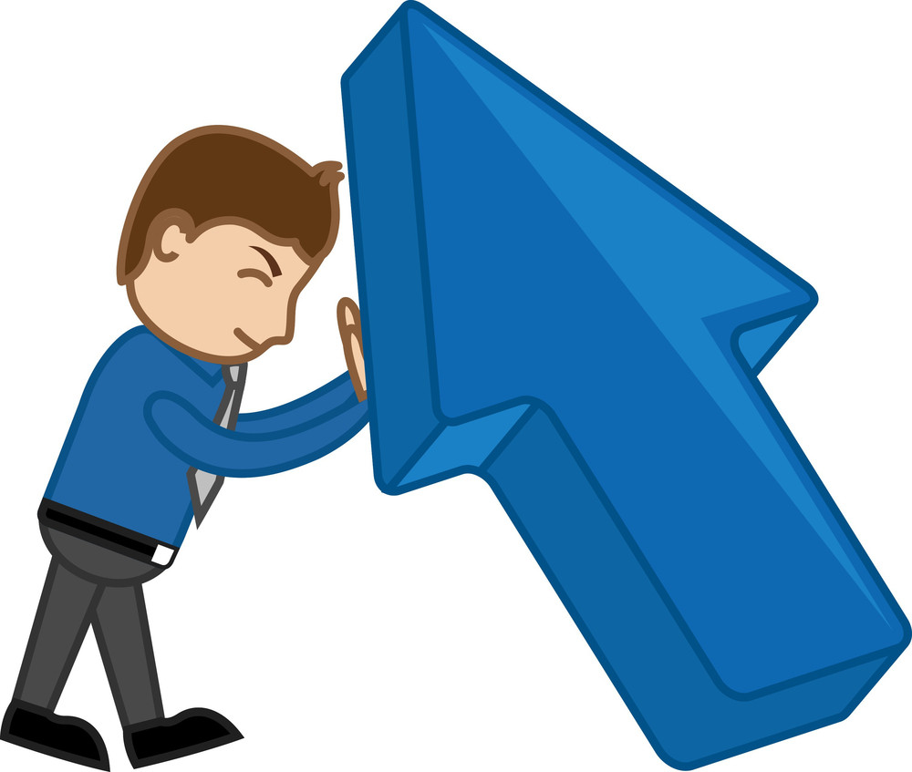 Pushing Large Arrow - Vector Character Illustration