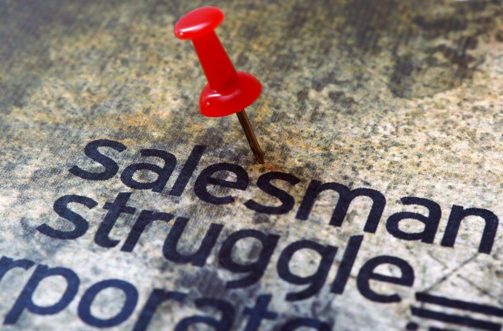 Pushpin On Salesman Text