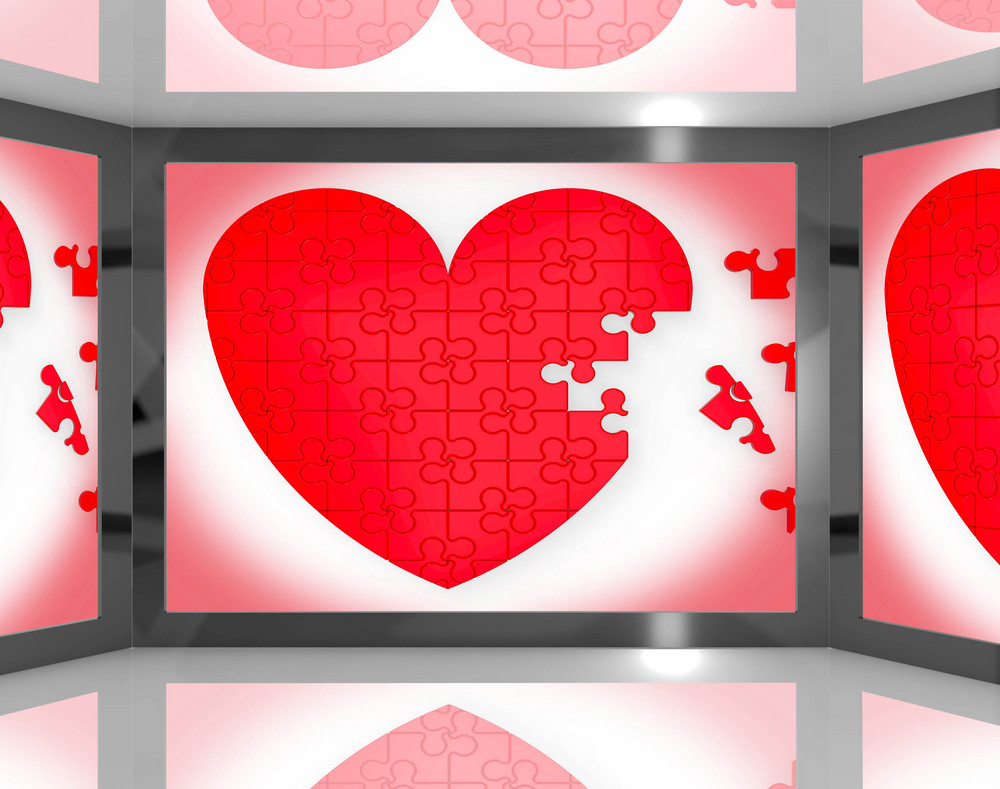 Puzzle Heart On Screen Showing Romantic Movies And Soap Operas