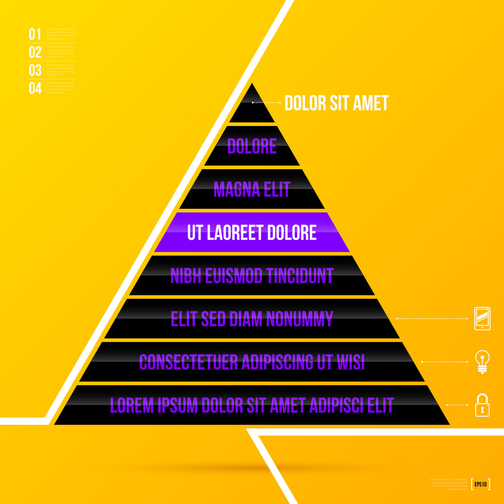 pyramid chart template with eight options on bright yellow