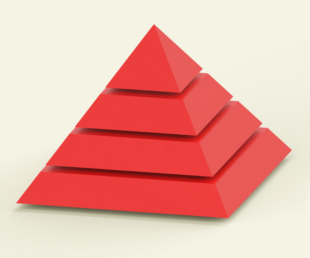 Pyramid With Segments Showing Hierarchy Or Progress