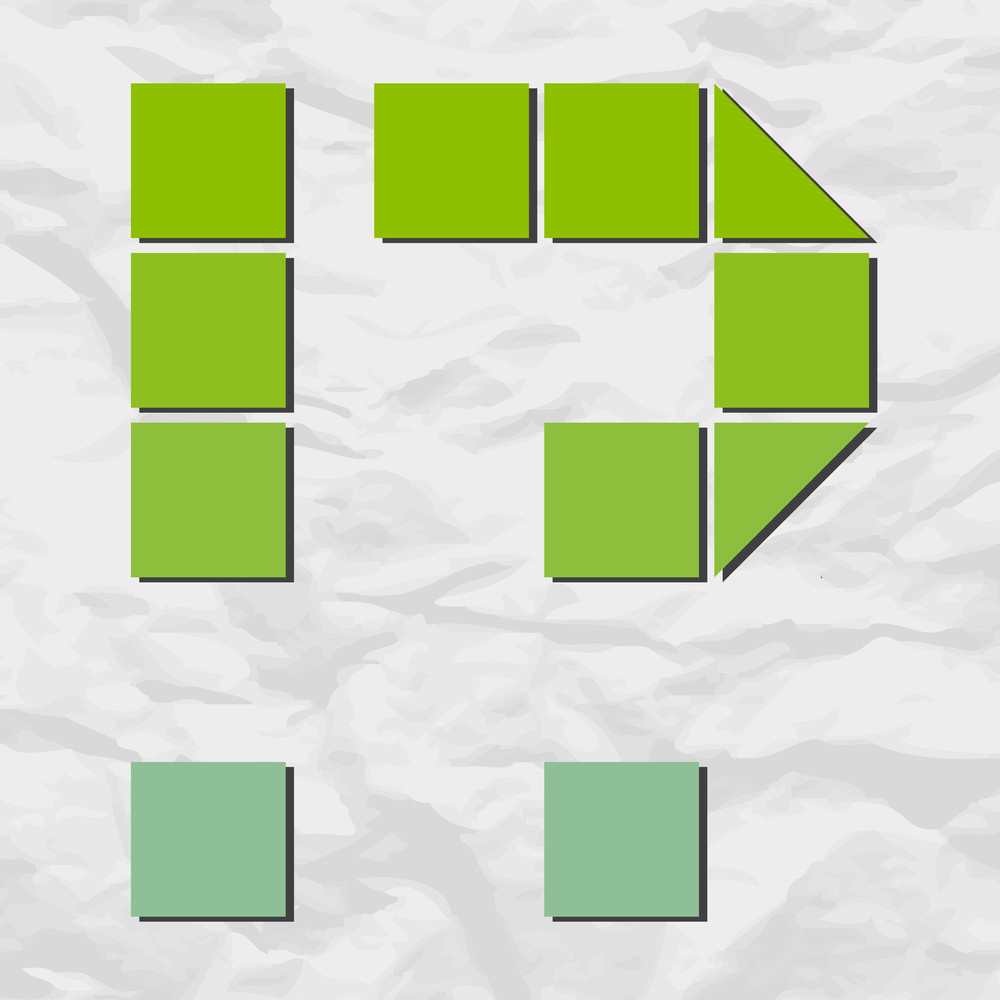 Question And Exclamation Marks From Squares And Triangles On A Paper-background. Vector Illustration