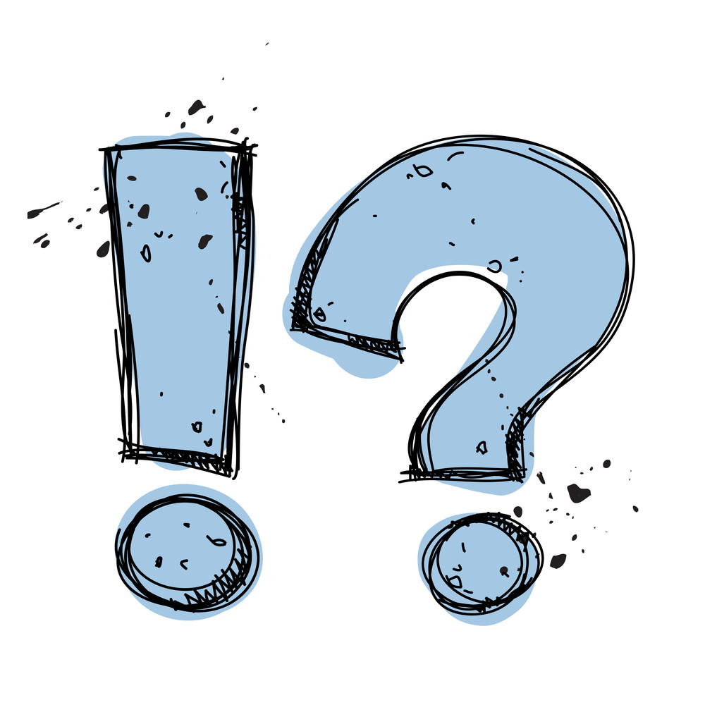 Question And Exclamation Marks In Sketch.-style. Vector Illustration.