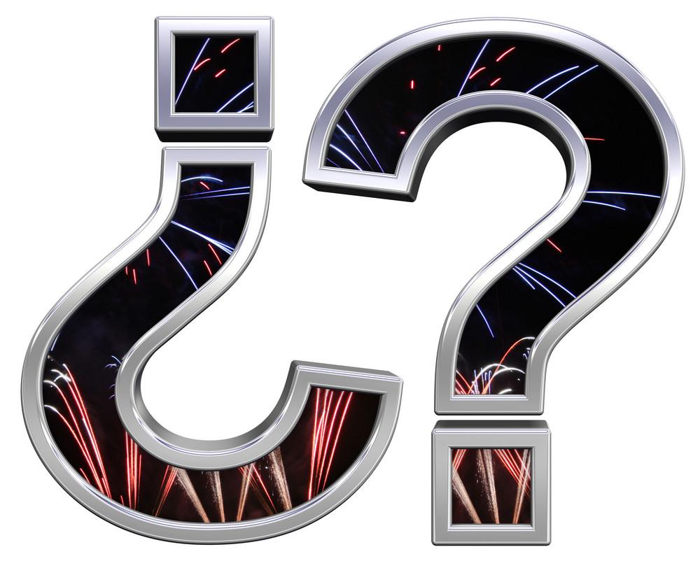 Question Mark From Firework With Chrome Frame Alphabet Set