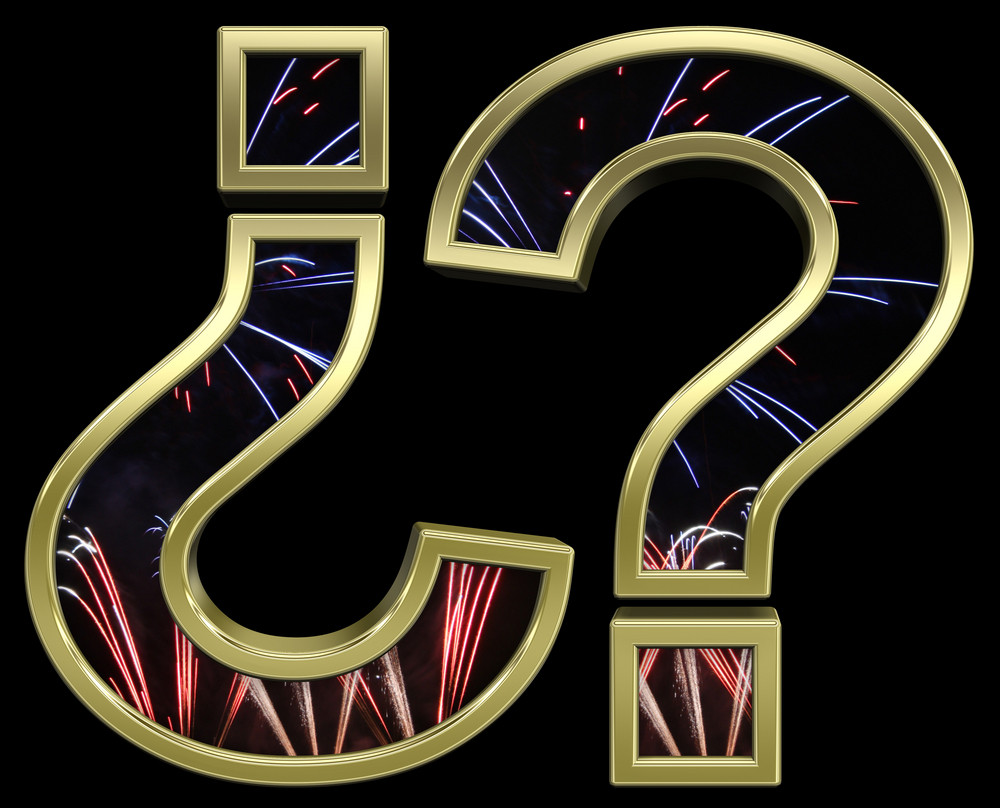 Question Mark From Firework With Gold Frame Alphabet Set