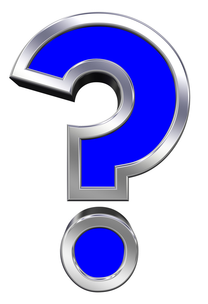 Question Mark Sign From Blue With Chrome Frame Alphabet Set