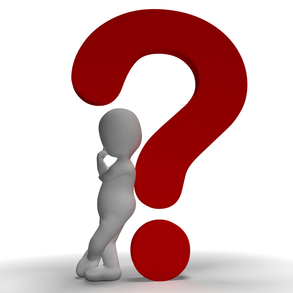 Question Marks And Man Showing Uncertain Or Unsure