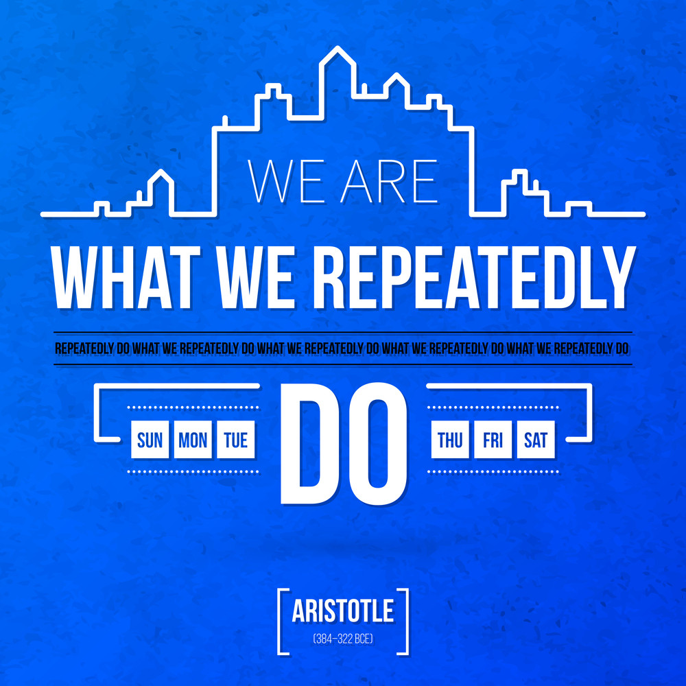 """Quote Typographical Background """"we Are What We Repeatedly Do"""""""