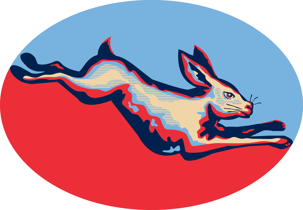 Rabbit Jumping Side Retro