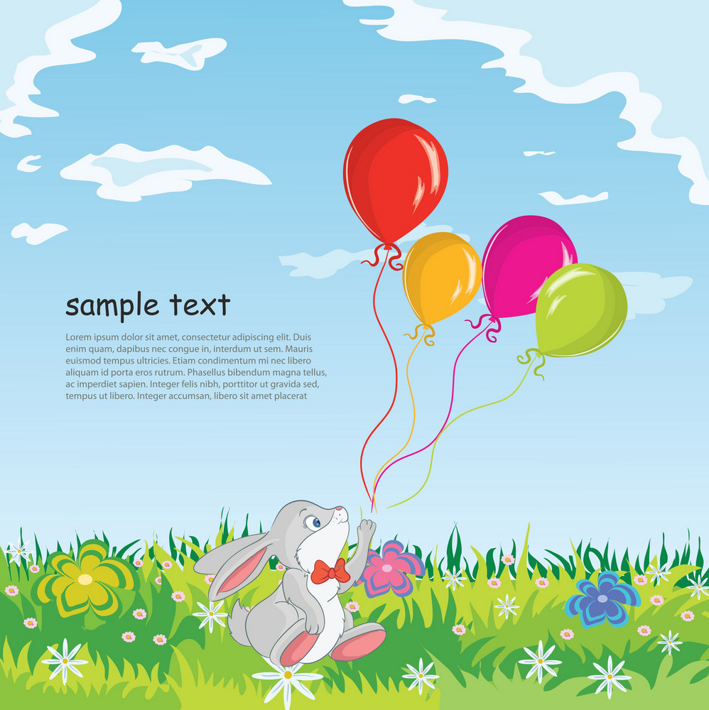 Rabbit With Baloons Vector Illustration