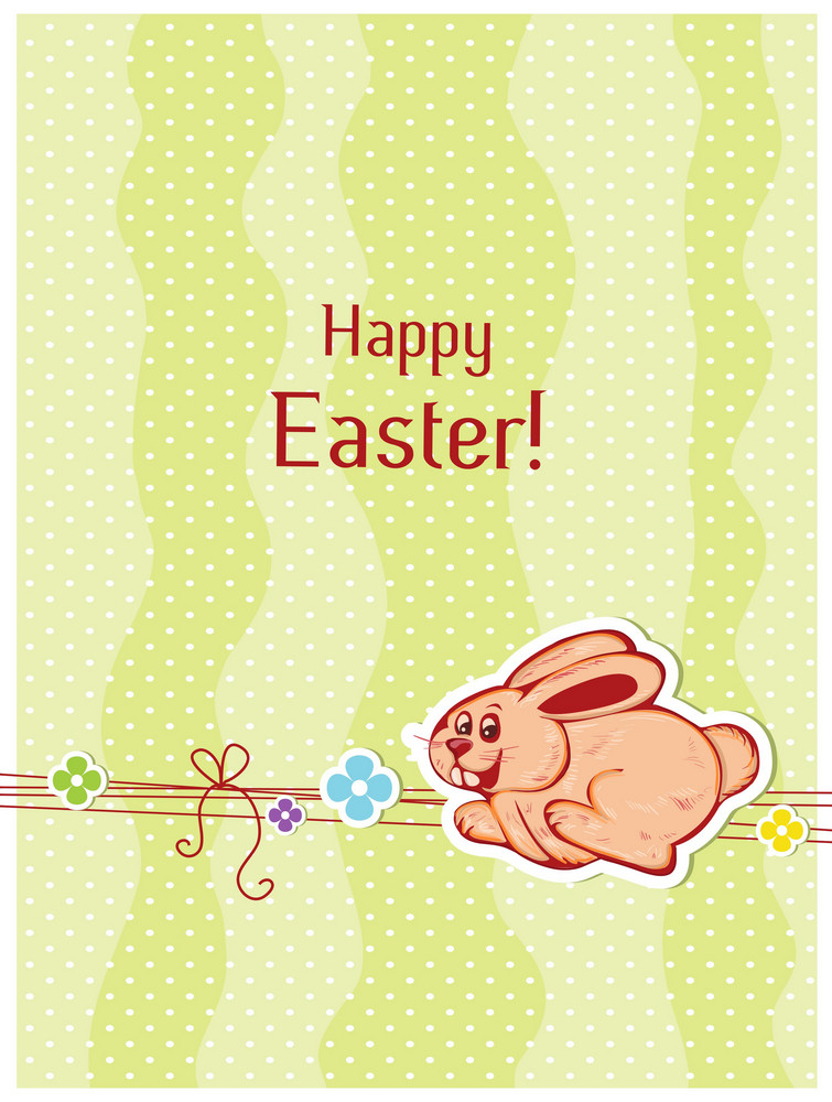 Rabbit With Flowers Vector Illustration