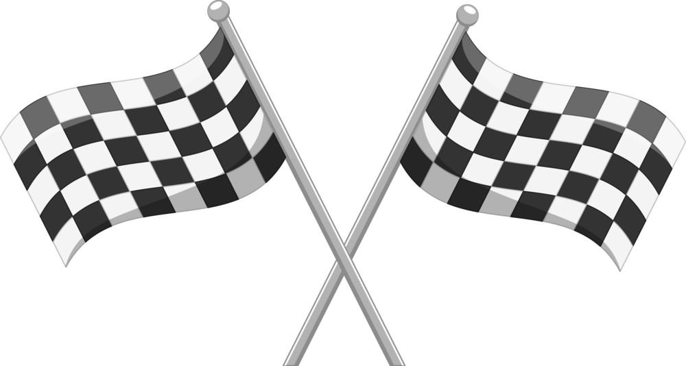 Racing Crossed Flag Vector Cartoon