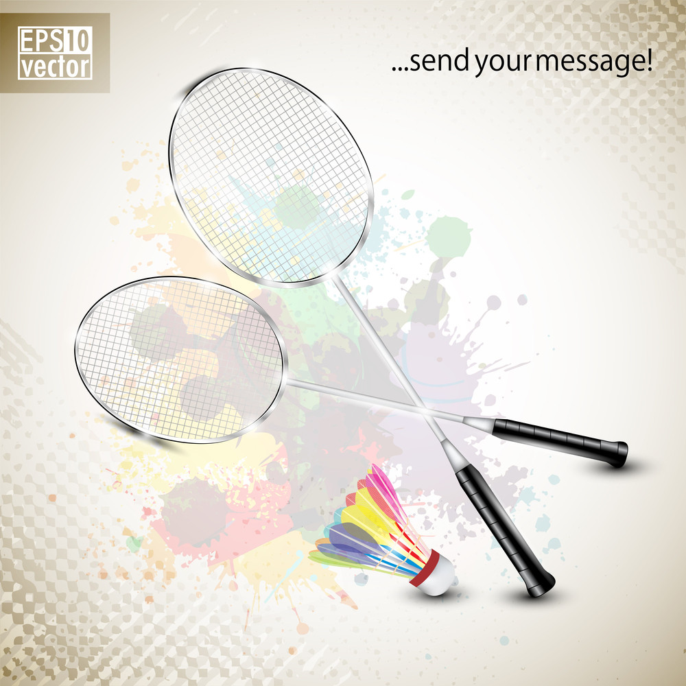 Racquet And Shuttle In Fire On Abstract Grungy Color Splash Background. Badminton Game Equipment.