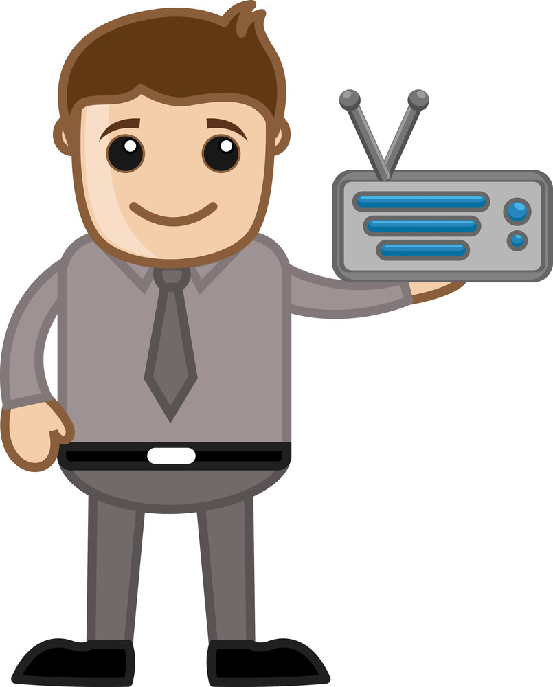 Radio - Business Cartoons Vectors
