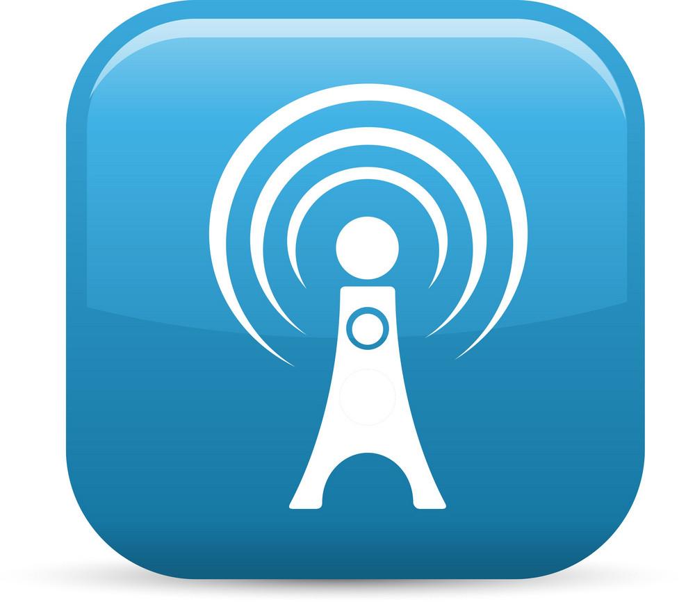 Radio Signal 2 Elements Glossy Icon