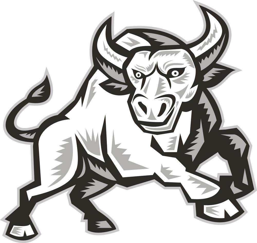 Raging Bull Attacking Charging Woodcut