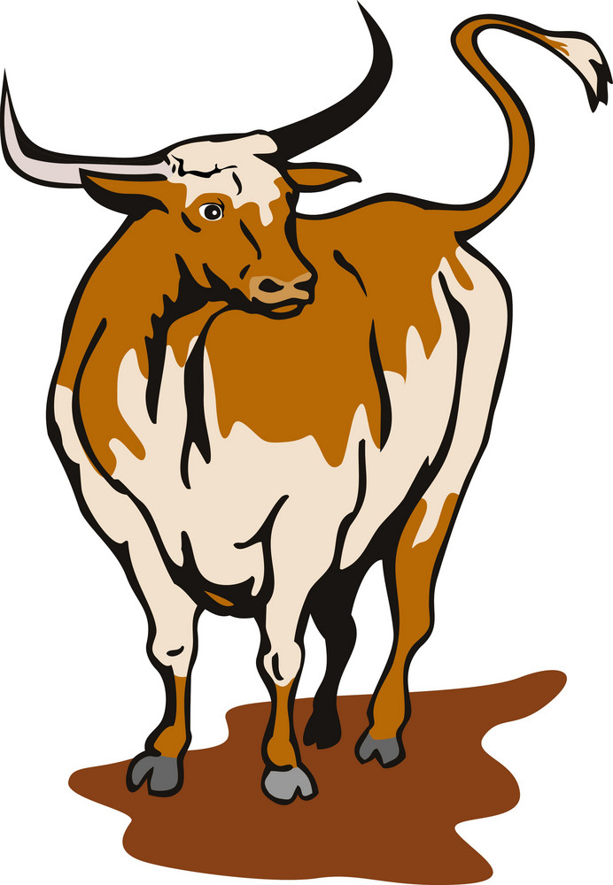 Raging Bull Attacking Retro