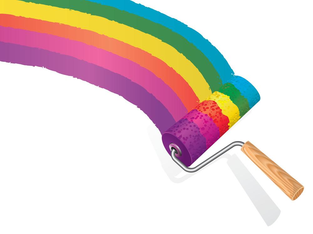 Rainbow Paint Roller. Vector.