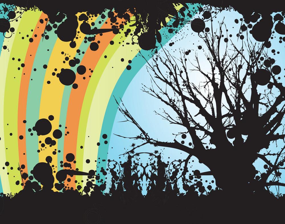 Rainbow Tree Vector Illustration