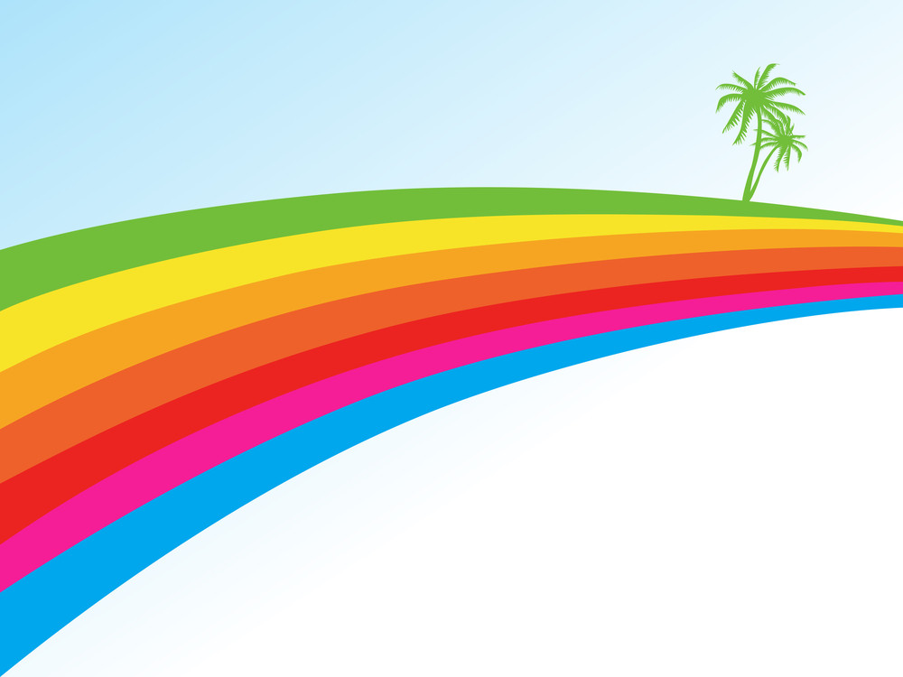 Rainbow Waves And Palm Tree On Background
