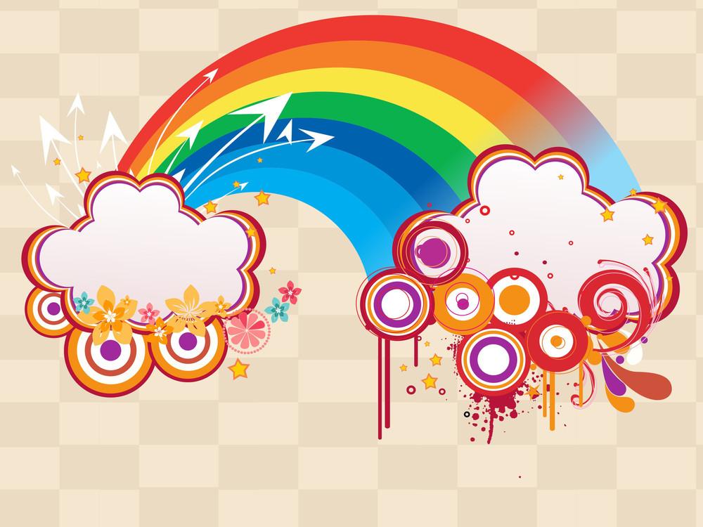 Rainbow With Grungy Artwork Illustration