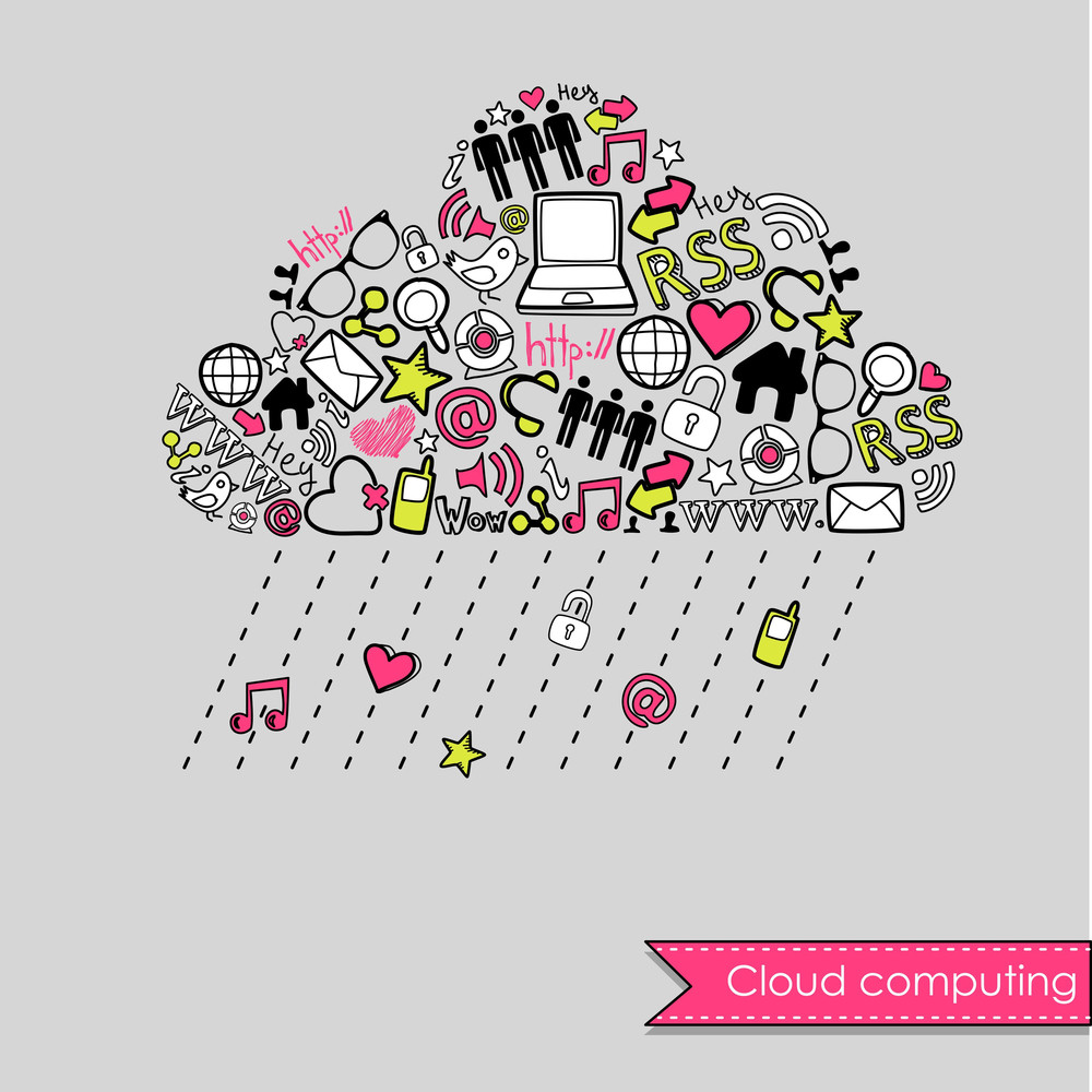 Raining Cloud Computing And Social Media Concept. Cute Hand Drawn Doodles