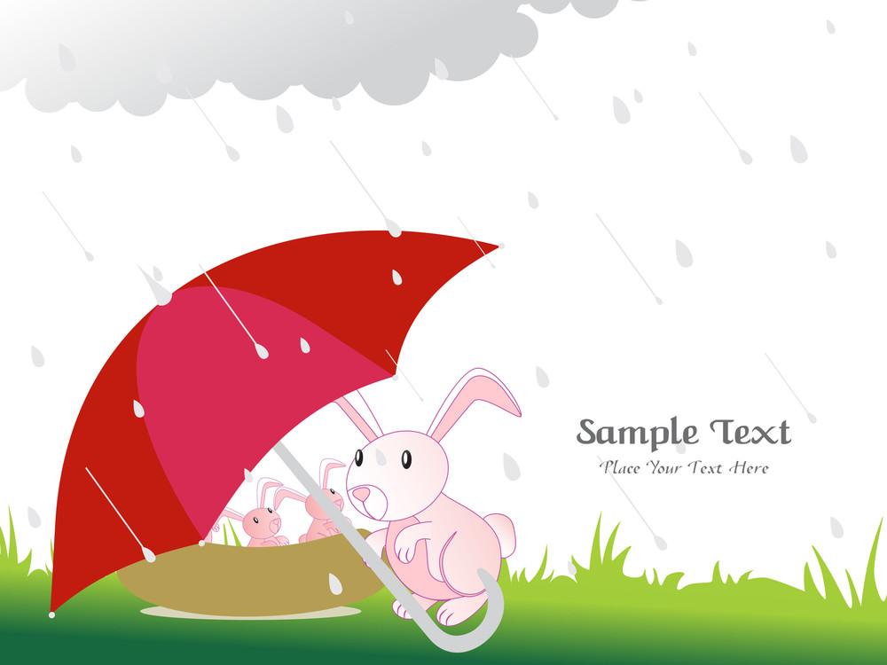 Rainy Background With Elephant