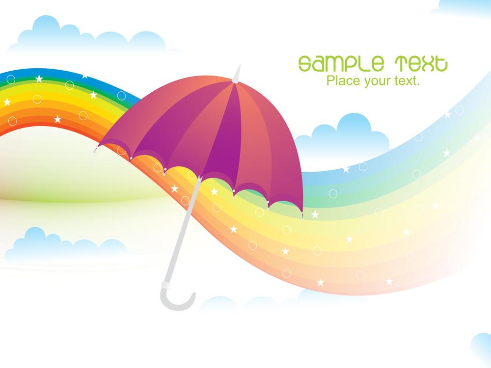 Rainy Background With Rainbow