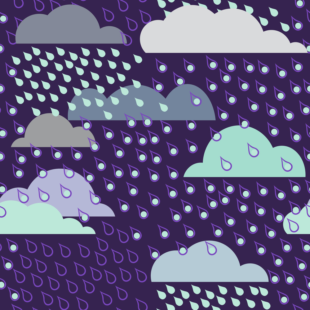 Rainy Seamless Pattern With Clouds. Vector Pattern